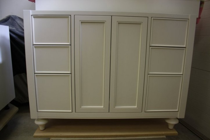 white face frame furniture style vanity