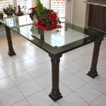custom four post glass table
