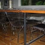 rustic wood metal dining table