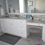 white shaker vanity with makeup 2
