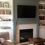 two tone fireplace wall unit