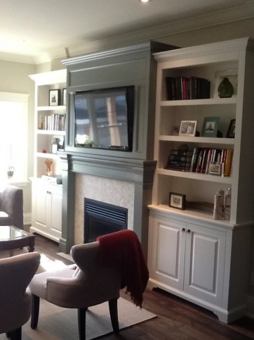 two tone fireplace entertainment wall unit