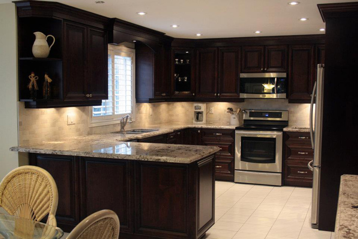 traditional dark raised panel kitchen 2